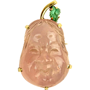 Vintage Carved Rose Quartz, Carved Emerald and 14 Karat Yellow Gold Buddha Brooch