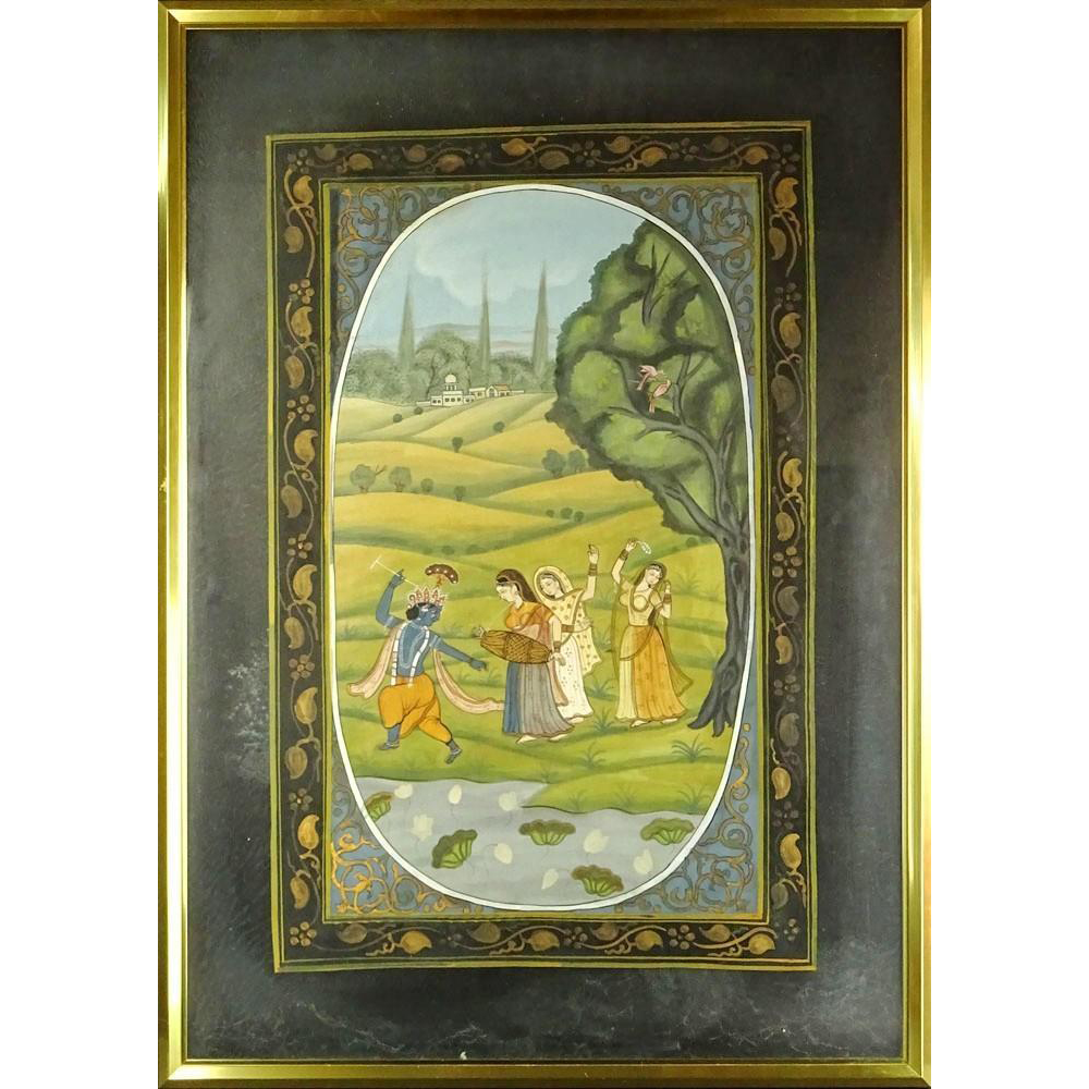 "Two Sided Persian Gouache ""Landscape With Figures"""