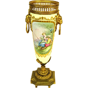 Antique Sevres Bronze Mounted Hand-Painted Porcelain Urn, Artist signed.