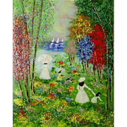 "Enamel on Copper Painting ""Figures By The Lake""  - Signed"