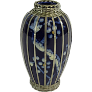 Japanese Art Pottery, Art Deco, Awaji,  With Basket Weave Silver Overlay