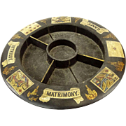 "Antique English Papier Mache ""Pope Joan"" Game Board/Wheel."
