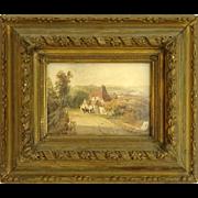 Original Antique Continental Watercolor Landscape, Framed