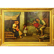 "RUDOLPH JELINEK, (Austrian 1880-1950) Original Oil on Canvas ""Entertaining The Family"" Signed"