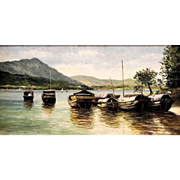 """Large Signed Oil On Canvas - """"Asian Moment In Time"""""""