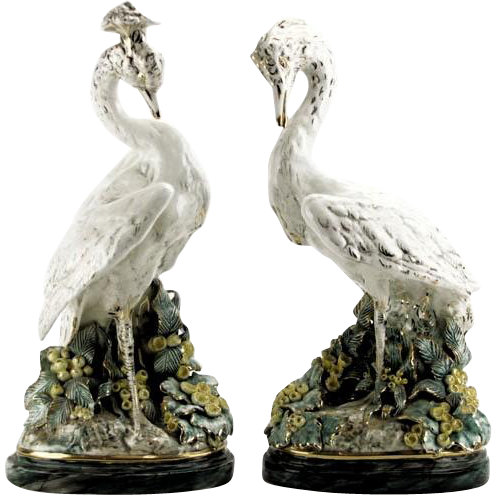 Large Signed Pair Of Renowned FREEMAN LEIDY Hand-Painted Majolica Mid 20th Century Bird Sculptures