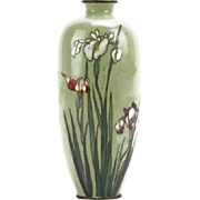 Antique Japanese Cloisonne Enamel Vase On Green Ground.