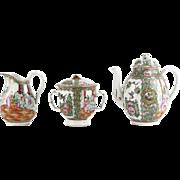 Three (3) Piece Chinese Rose Medallion Tea Set - Teapot, Creamer and Lidded Sugar Bowl