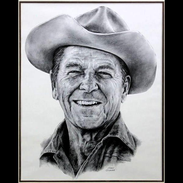 "GARY GIUFFRE (American 20th Century) - ""Reagan Country""  - Artist Signed, circa 1983."