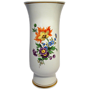 Meissen Porcelain Vase - Exquisite Flowers Hand-Painted By The Premier German Manufacturer