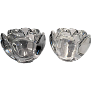 ROYAL COPENHAGEN Fine Danish Crystal PAIR Of Lovely Matched 'Lotus' Vases Or Holders For Table Accessories