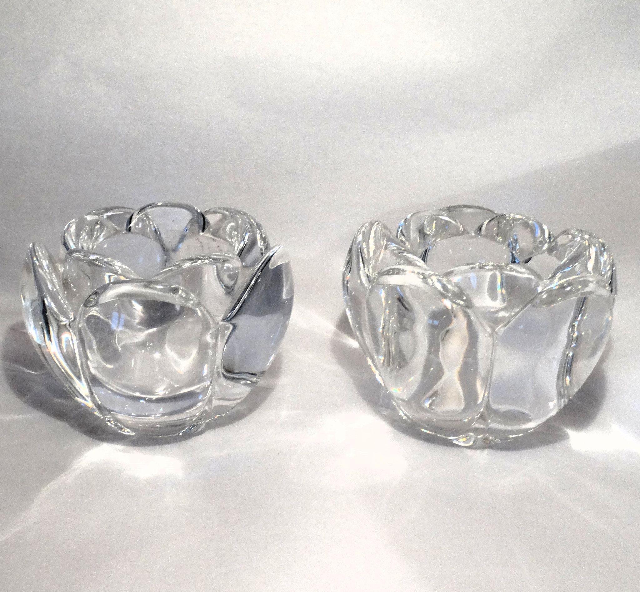 Royal Copenhagen Fine Danish Crystal Pair Of Lovely Matched Lotus