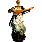 Chinese Large Standing Musician Mudman Playing Mandolin