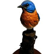Signed Richard Lamson Hand-Painted Bird Sculpture - 'Robin'