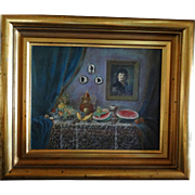 Trompe l'oeil Oil On Board - Signed By Hungarian Artist Viola J. K. 20th Century - Has Hungarian Export Stamp