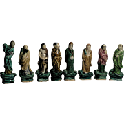 Complete Vintage Chinese Well-Detailed Set Of The Eight Immortals, Sancai Mudmen