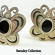 Vintage Sterling Silver and Onyx Filigree Butterfly Clip Earrings