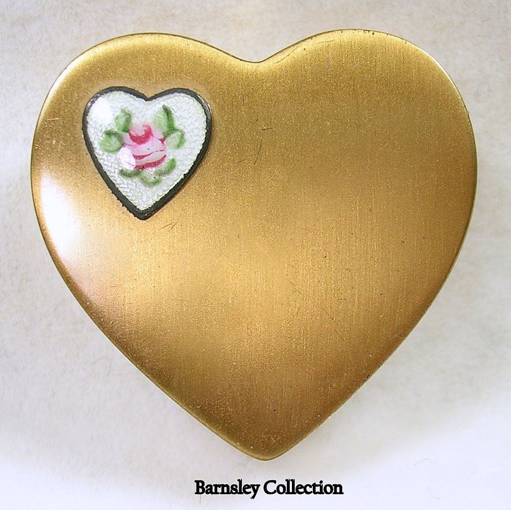 Vintage Gold Tone Heart Compact with Guilloche Enamel Heart