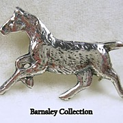 Vintage Sterling Silver Horse Brooch Pin – c. 1940s