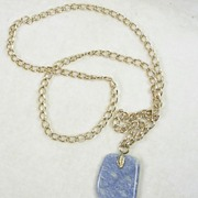 Blue Stone Pendant with Goldtone Chain