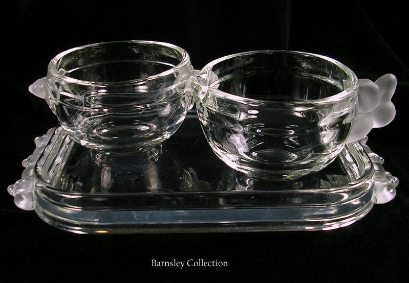 Vintage Crystal Creamer and Sugar Bowl with Tray