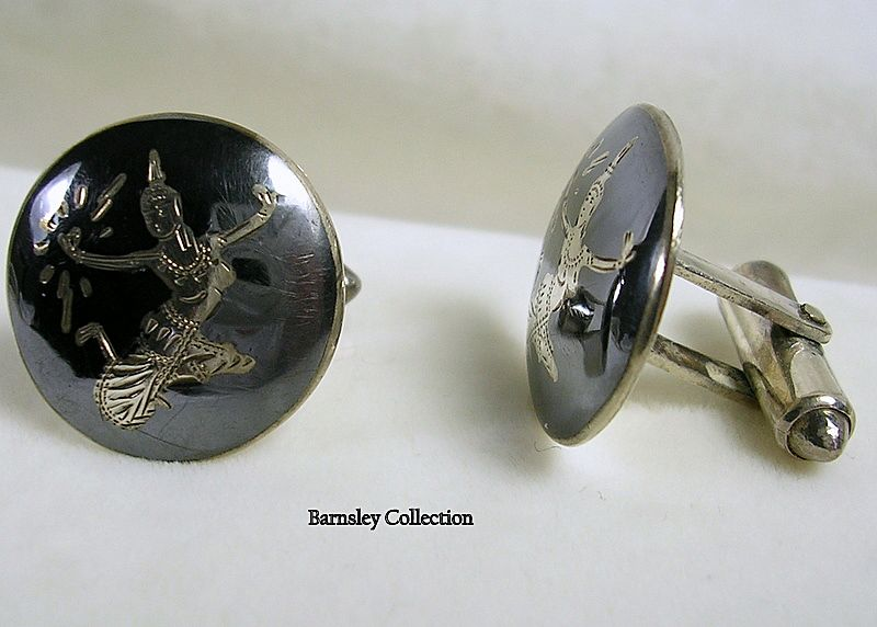 Vintage Sterling Silver Men's Siam Cuff Links