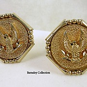 Signed Swank Vintage Octagonal Eagle Cuff Links