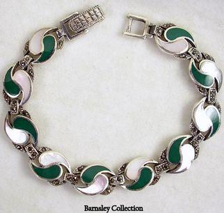 Sterling Silver Marcasite Mother of Pearl Yin Yang Bracelet – Beautiful!