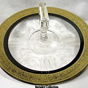 Collectible Etched Glass and Gilded Serving Dish with Handle