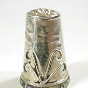 Handmade in Mexico Sterling Silver Thimble with Abalone Border