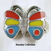 Vintage Sterling Silver Native American Turquoise and Coral Inlay Butterfly Ring