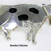 "Vintage ""Old TAXCO"" Sterling Silver Pin, Brooch, Pendant Jersey Cow with Brass Moving Bell"