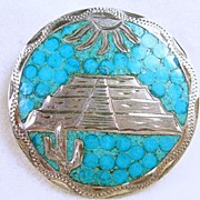 Vintage Sterling Silver Mosaic Turquoise Medallion Pendant Pin Brooch