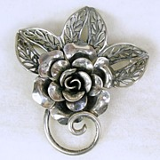 Signed Jewelart, Unusual Sterling Silver Floral Pin Brooch