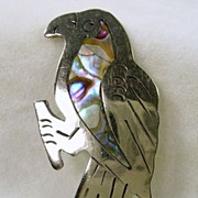 Vintage Sterling Silver and Abalone Parrot Brooch Pin