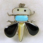 Vintage Zuni Fly Pendant and Brooch with Turquoise, Onyx, Mother of Pearl in Sterling Silver- c. 1970s