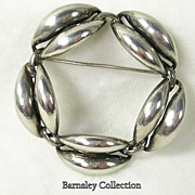Signed Danecraft, Sterling Silver Wreath Circular Brooch Pin –c. 1950s