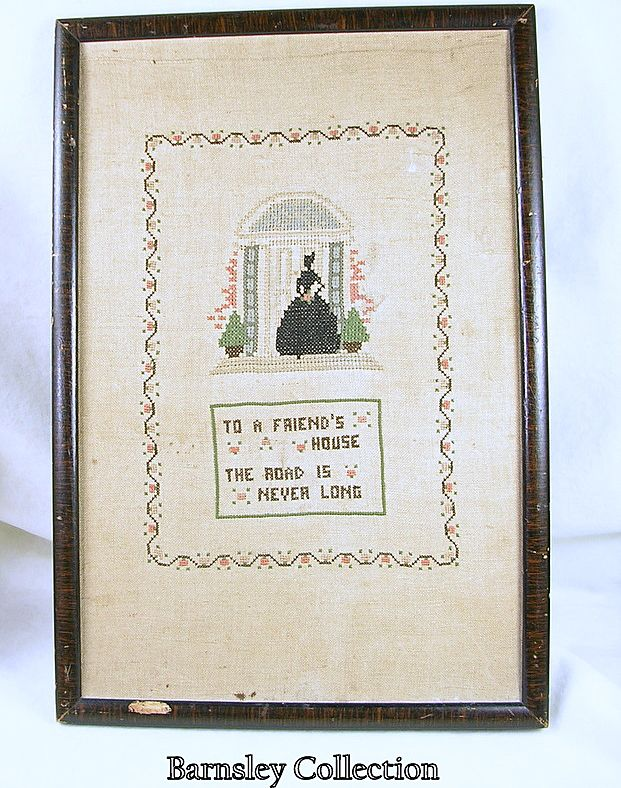 Vintage Cross Stitch Embroidered Picture with Frame – c.1920/1930s