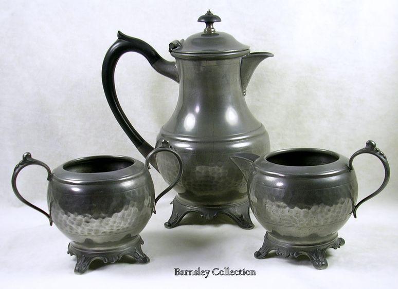 Signed W. Ellerby of London Art Nouveau Hand Beaten Pewter Tea Coffee Server Set-c.1910