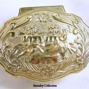Vintage Gold Tone Cherub Trinket Box Casket