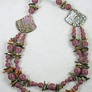 Vintage Mauve Lucite Beaded Necklace with Abalone, and Coral