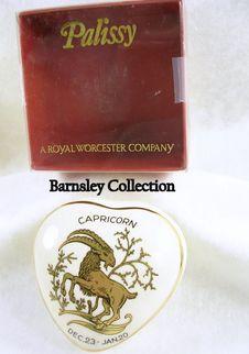 Signed Palissy Porcelain Capricorn Heart Shaped Trinket Box