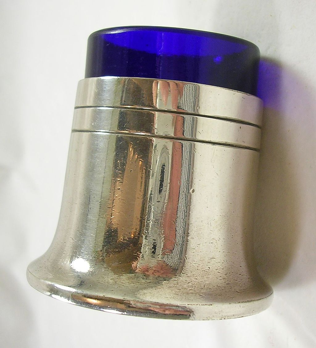 Silver Plated Salt Jar with Cobalt Blue Glass Liner – c. 1934