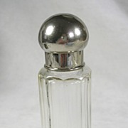 Vintage Edwardian Cut Glass Perfume Cologne Bottle with a Silver Plated Lid – c. 1909