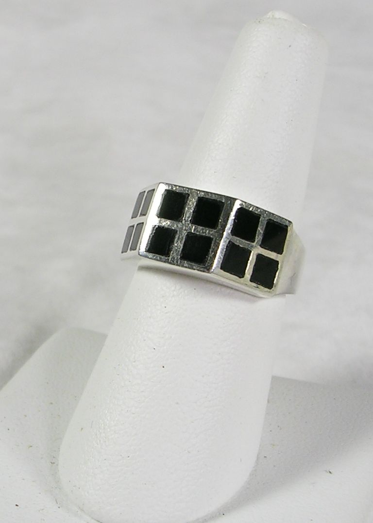 Vintage Sterling Silver Ring with Onyx Inlays in Checkerboard Design-c. 1975