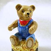 Signed Halcyon Days Vintage Porcelain Teddy Bear Trinket Box