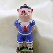 Hand Signed Limoges France Peint Main Chamart, Sailor Pig Trinket Box