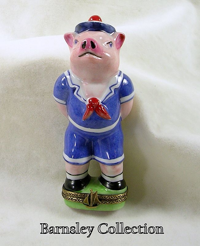 Hand Signed Limoges France Peint Main Chamart, Sailor Pig Trinket Box