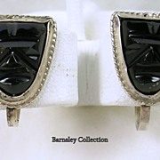 Signed Mexico Vintage Silver Art Deco Carved Onyx Mask Screw back Earrings