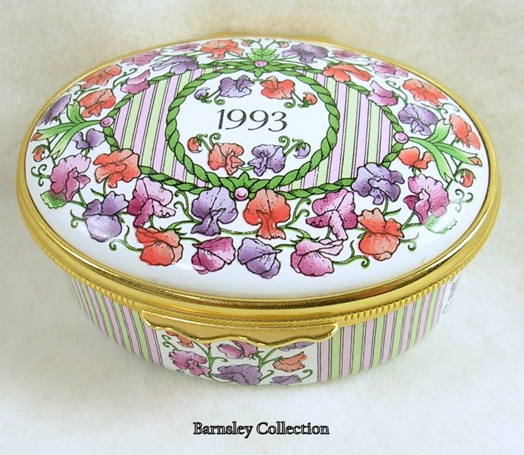"Vintage Halcyon Days Enamel ""A Year to Remember-1993"" Trinket Box"